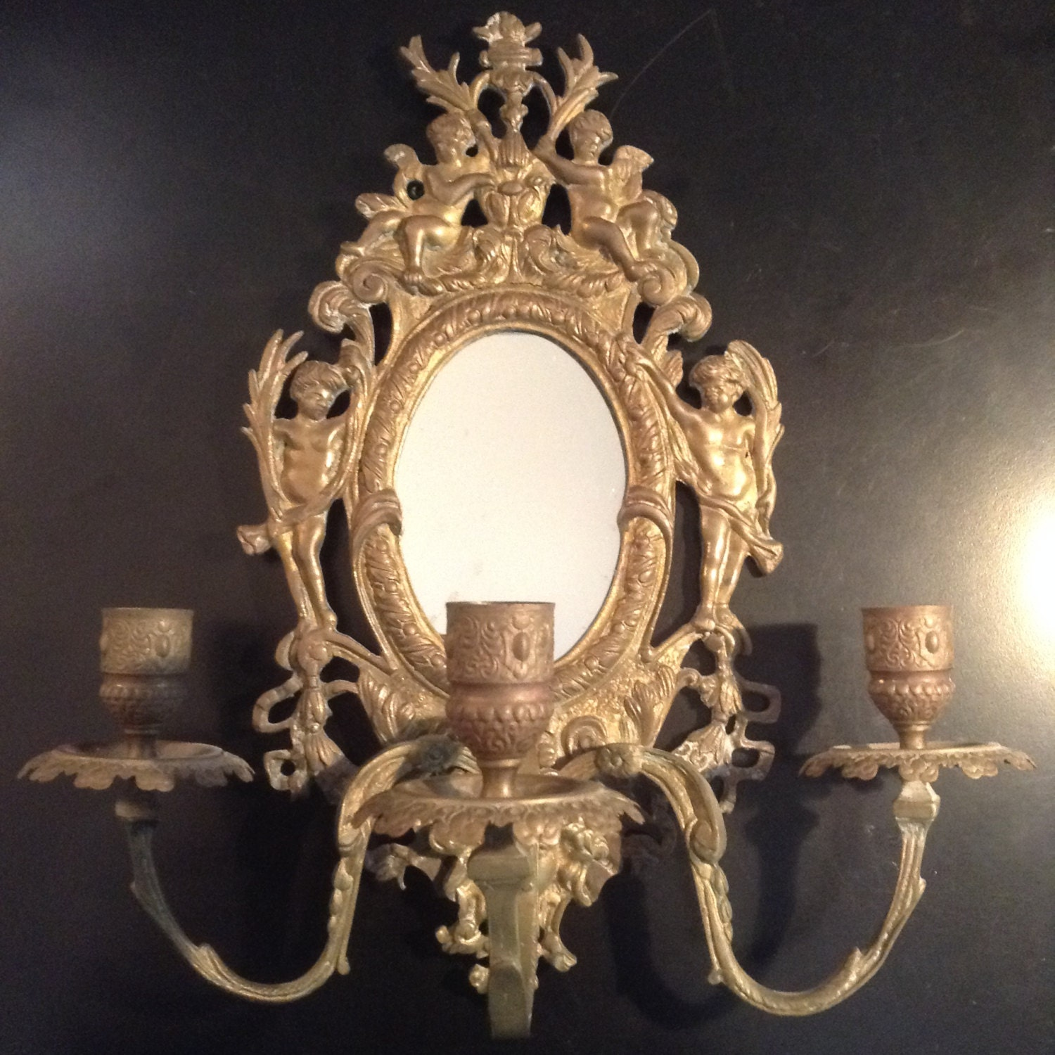 Antique mirrored brass candle sconce brass wall sconce with