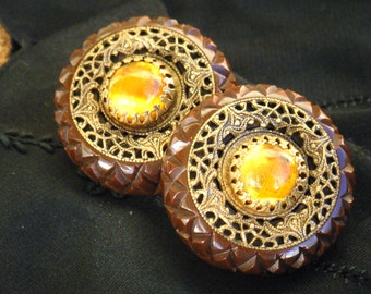 Ornate Chunky Bakelite Earrings, carved chocolate bakelite brass filigree clip on round domed amber, collectible statement accessory 40s 50s