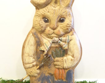 Vintage Bunny Rabbit Box for Easter, Cardboard Candy Container