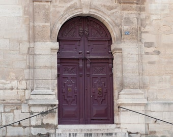 Paris Photo - Purple Door and Steps, Parisian Architecture Fine Art Photograph, Home Decor, Large Wall Art