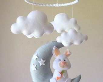 Baby mobile  - bunny mobile - baby mobile bunny - moon mobile - moon clouds mobile - baby mobile clouds