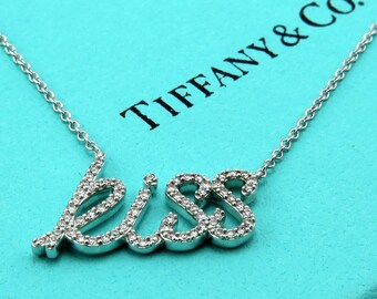 Authentic TIFFANY & Co Paloma Picasso Diamond Kiss Necklace Pendant - Graffiti Collection