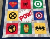 Superhero Crib Quilt. Spiderman Superman Batman Hulk XMen Thor. Superhero Nursery. Superhero Blanket. Superhero Bedding. Superhero Quilt
