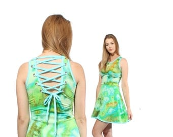 Corset Dress in Jungle Ice Hand Dyed