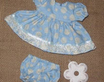 """Handmade 11 - 13 Inch Baby Doll Clothes ~ """"Party Dress"""" Light Blue and Cream Color Quotes Print Dress Set with Panties"""