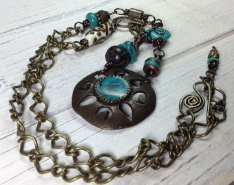 Long Turquoise and Antique Brass Necklace