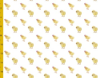 Baby Chicks in Pink Bows Printed Fabric Order by the Yard, Choose Cotton Knit, Linen Canvas and more | Ships from USA, Free Ship Worldwide