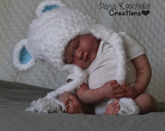 Fuzzy Bear Baby Hat, Crochet Baby Hat, boy hat, Photography Prop , newborn hat, Baby Bear Hat, Photographer Prop, baby earflap hat