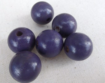 6 Vintage Round purple Wood Beads / Jewelry Supply / Macrame Craft / assemblage / mixed media supplies / altered art / wooden cube / WB-4