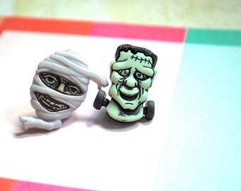 Halloween Earrings -- Frankenstein Mummy Studs, Halloween