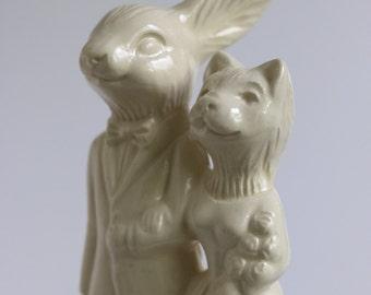 Rabbit and Cat Ceramic Wedding Cake Topper
