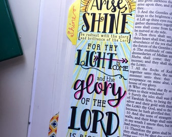 Bible Journaling Bible Verse Art Bible Verse Print great for illustrated faith and Art Journal - Arise, Shine, Glory - Isaiah 60:1