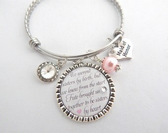 Sisters by Heart Bracelet- Maid of Honor-Bridesmaid Gift- SISTER-Wedding Quote Jewelry-Sister of the Heart Jewelry-Bangle -Fate Jewelry