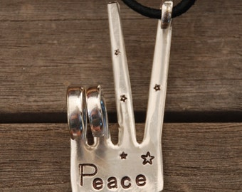 PEACE sign Ornament with LEATHER made from Vintage Fork ~ Hand Stamped with STARS Christmas Ornament