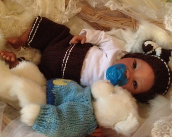 From the Biracial Shyann Kit  Reborn Baby Doll 19 inch Baby Boy Everett Complete Baby Doll Painted Hair