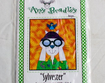 """Amy Bradley, Kitty City series ,""""Sylvester"""" quilt square uncut pattern and square"""