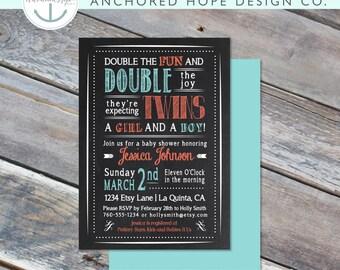 Baby Shower Invitation - 5x7 - Chalkboard - Twins - Double the Fun - Boy/Girl - Card -  Digital Printable File - Cardstock