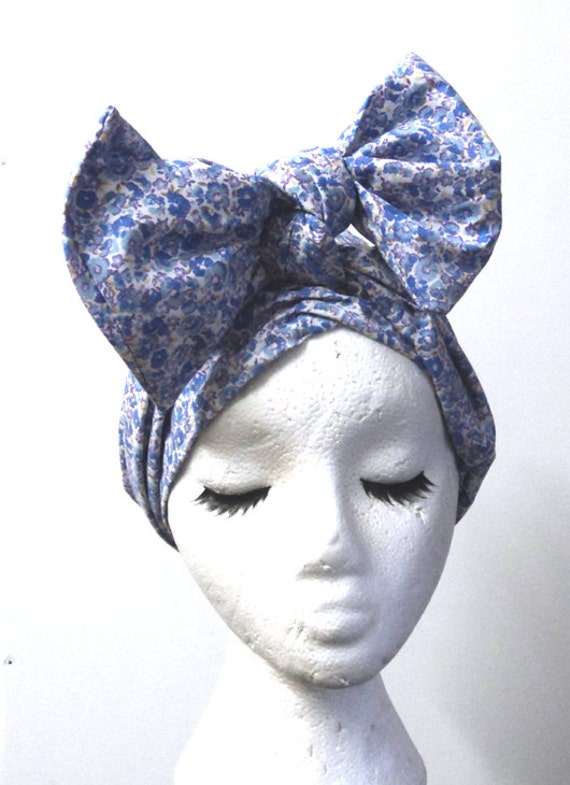 Vintage Hair Accessories: Combs, Headbands, Flowers, Scarf Blue Floral 1940s Style Cotton Headwrap $18.70 AT vintagedancer.com