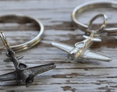 airplane keychain, choice of finish, silver airplane keychain, Made in USA keychain, aviators key ring, pilot keychain, pilots gift