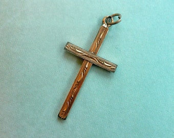 20% OFF Victorian Gold Engraved Cross Pendant - Antique Gold Filled Cross 1/20 12K GF