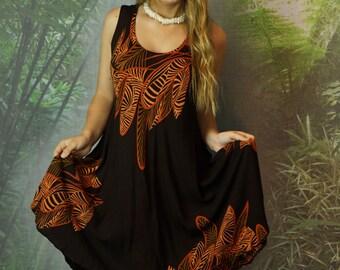 Vintage batik jungle dress / crinkle rayon black ocre brown tan Indonesian trapeze caftan / ethnic festival beach holiday