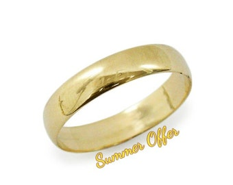 Classic wedding ring. Rounded yellow gold wedding ring. 14k yellow gold wedding ring. 5mm wedding ring.  hes and hers ring(gr-9377-1498).
