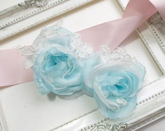 Something Blue Pale Baby Blue White Lace Applique Chiffon Silk hair flower Clip Bridal Rustic Wedding hairpiece headpiece Fascinator Rose