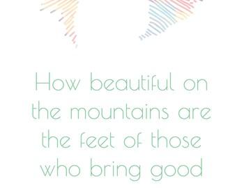 How Beautiful... Isaiah 52:7 Digital A4 Print