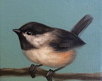 Original Oil Painting Tiny Chickadee On Blue