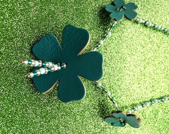 Turquoise and Teal Rocaille Leather Flower Fashion Trend Necklace-Ladies Jewellery-Handmade Necklace-Gifts For Women-Handmade Jewellery