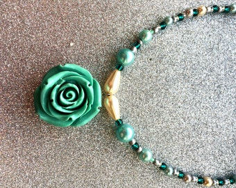 Mint Green Acrylic or Teal Rose Flower Pendant Necklace app 18 inches by JulieDeeleyJewellery Contemporary Jewellery