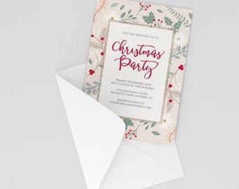Floral Christmas Party Invitation - Custom Printable PDF