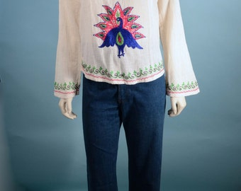 Vintage 70s Boho Cream Embroidered Peacock Tunic Top/ Festival Bohemian Hippie Blouse S