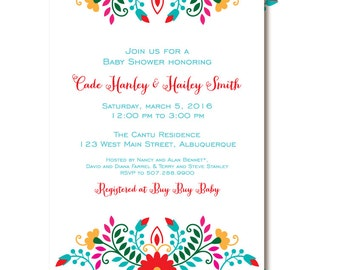 Fiesta Baby Shower Invitation, Mexican Themed Baby Shower Invitations, Cinco De Mayo Printable or Printed