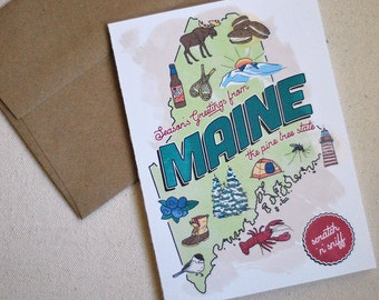 MAINE Scratch-N-Sniff Holiday Card : Box of 8