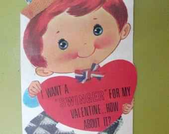 Valentine's Day Card Vintage Little Boy Card Swinger Valentine Love Note Blank Card Sweetheart Boyfriend