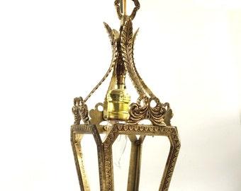 Antique Brass Pendant Lantern Vintage Brass Ceiling Light Ornate Chandelier