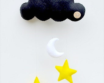 Hand made children's decorative hanging cloud with stars and moon