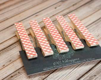 Orange Gingham Magnet - Orange Clothespin Magnet Set