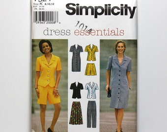 Uncut Sewing Pattern, Simplicity 7524, Five Piece Wardrobe, Dress, Top, Skirt, Pants, and Shorts, Casual Fashion, Sizes 8, 10, 12