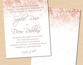 Rose Gold Sparkles Wedding Invitation Template (5 x 7, Portrait): Text-Editable in Microsoft® Word, Printable Instant Download