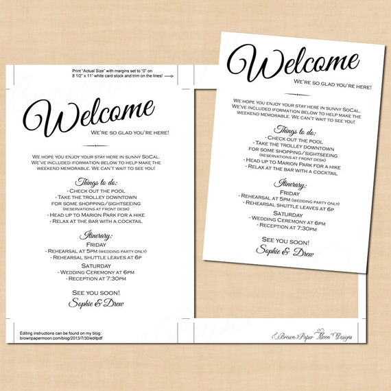 Calligraphy welcome letter wedding itinerary change all
