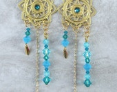 Handmade gold tone sun/fancy star earrings with turquoise Swarovski crystals, ready to ship, gifts for women, celestial, made in Montana