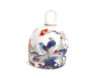 Vintage GOHO JAPAN Porcelain Bell Oriental Design Blue Birds Flowers Dome Shape Bell