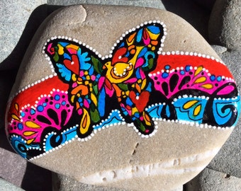 kaleidoscope dreams / painted rocks / painted stones / art on stone / home decor / rocks / butterflies / boho / hippie / rock art