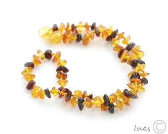 Baby Amber Teething Necklace, 100% Genuine Baltic Amber Baby Necklace, Multi Color Amber Beads