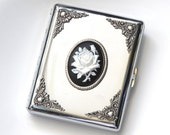 Women Cigarette Case King Size & 100's Silver Cigarette Case Cigarette Holder Vintage Style Smoking Accessories White Rose Case Gift for Her
