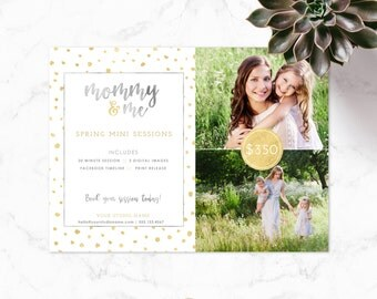 Mini Session Template - Photography - Photographer Marketing - Photoshop Template - Mommy Spring Mini Session - Rose Gold - Digital File