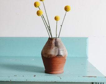Vintage terracotta signed pottery ceramic vase, vintage home decor neutral ceramic vase, vintage pottery vase, southwestern home decor