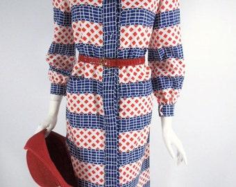 70s Patriotic Long Sleeve Shirtwaist Dress - sm, med